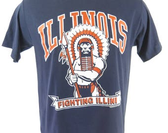 Vintage 80s Illinois Fighting Illini T-Shirt Mens L Deadstock University Thin [H65L_0-8]