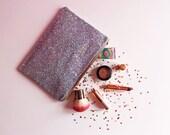 Silver Glitter Clutch Bag Silver Rainbow Sparkly Evening Bag Rainbow Glitter Bag Silver Party Bag Sparkly Silver Clutch