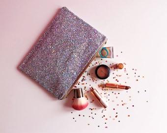 Silver Glitter Clutch Bag, Silver Rainbow Sparkly Evening Bag, Rainbow Glitter Bag, Silver Party Bag, Sparkly Silver Clutch,
