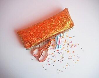 Burnt Orange Glitter Pencil Case, Sparkly Orange Glitter Zipped Case, Sparkly Stationery, Orange Pencil Case, Sparkly Case,