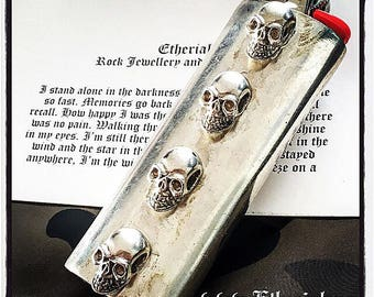Sterling Silver Skull Bic Lighter Case Skull Lighter Case Sterling Silver Skulls Custom Bic Skull Handmade Bic Lighter Case Sterling Silver