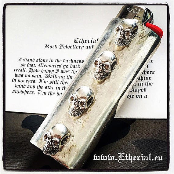 Etherial Jewelry - Rock Chic Talisman Luxury Biker Custom Handmade Artisan Pure Sterling Silver .925 Custom Bic Skull Large Lighter Case