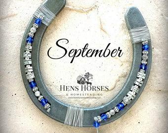 Horseshoe | Horse Décor | Horseshoe Décor | Personalized Horseshoe | September Sapphire Birthstone Horseshoe | Lucky Horseshoe | Two Names