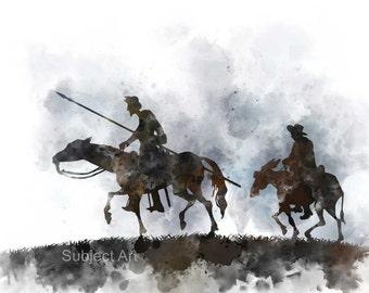 Don Quixote & Sancho Panza ART PRINT illustration, Horseback, Novel, Wall Art, Home Decor, The Ingenious Gentleman Don Quixote of La Mancha