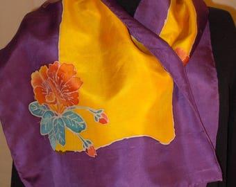 Silk scarf; hand painted scarves; Flowers; purple yellow scarf; floral scarf; hand painting; silk painting #S136