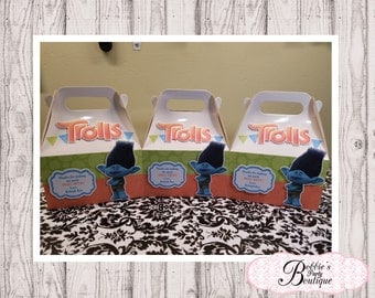 Trolls party favor box, Trolls gable box, 10 Trolls party favor gable box, Trolls favor box