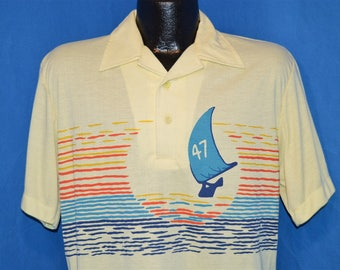 80s Youngbloods Rainbow Sunset Sailboat Polo Shirt Medium