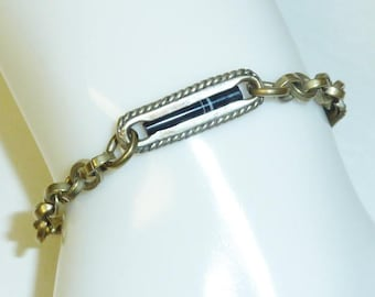 Antique Banded Agate Watch Chain Victorian Silver Plate Bracelet