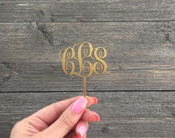 "Monogram Cupcake Topper, Set of 10, 2"" inches wide, Laser Cut Wooden Cake Topper, Fun Cupcake Topper, Unique Cake Toppers"