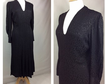 1930s Dress, Jet Black, Smart , Formal, UK size 8-10, US size 6-8.