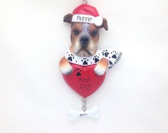 FREE SHIPPING Boxer Personalized Christmas Ornament / Custom Names or Message / Stocking Stuffer / Dog Ornament