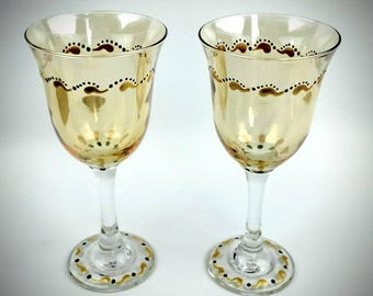 Gold hand painted wine glasses, set of two, gold decorated wine glasses, anniversary wine glasses, wedding wine glasses, wedding gift