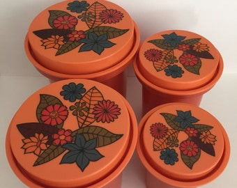 Vintage Bright Orange 1970's Rubbermaid Plastic Canister Set with Retro Flower Lids