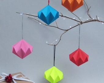 Solid Geometric Diamond  Christmas Ornament