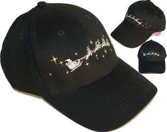 Christmas Eve Santa Baseball Hat Reindeer & Sleigh Twill Cap Monogram Custom Embroidered