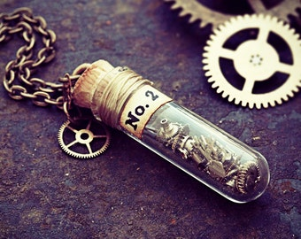 Clockwork Necklace Steampunk Jewelry Watch Part Glass Vial Pendant Test Tube Clock Cogs Terrarium Gear Cyberpunk Upcycled FREE SHIPPING
