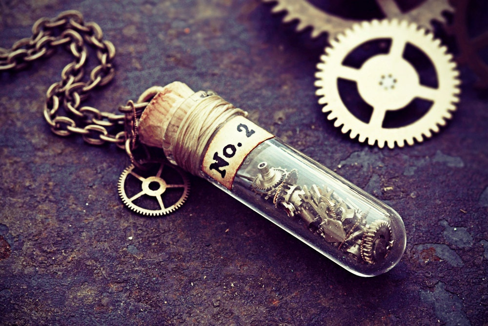 Clockwork necklace steampunk jewelry watch part glass vial pendant clockwork necklace steampunk jewelry watch part glass vial pendant test tube clock cogs terrarium gear cyberpunk upcycled free uk shipping aloadofball Image collections