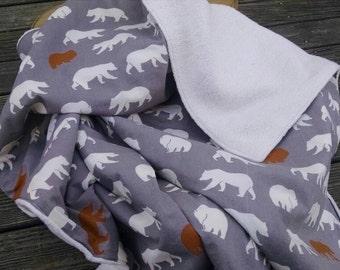 Organic large 32 x 36 Bears and organic Sherpa baby blanket