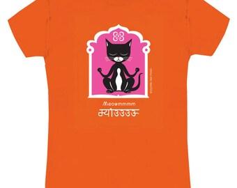 YOGA KITTY Cat Tee Shirt Orange Slim Fit Ladies on Sale!