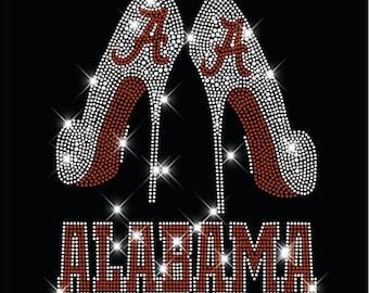Ships in 1 DAY! Alabama Crimson Tide high heels rhinestone transfer, alabama iron on Alabama  college Football Rhinestone applique