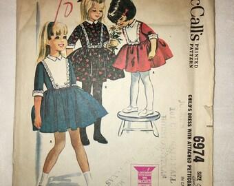 Vintage McCalls Girls Bibbed Dress Sewing Pattern #6974 CUT UNUSED