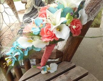 Destination or Beach Wedding / Real Touch Cascading Bridal Bouquet / Coral and Aqua Blue Bouquet / Tropical Flowers / Silk Flowers