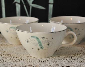 1950s Blue Heaven Feather Pattern Tea Cups