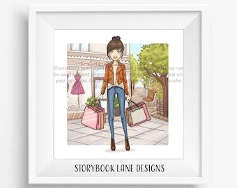 Fashion Art Print - I love Shopping- Messy Bun