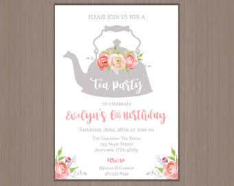 Tea Party Invitation, Girl's Birthday Party Invitation, Brunch, Floral, Roses, Garden, Time for Tea, 1st, 2nd, 3rd, 4th, 5th, First, Printed