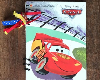 Cars Disney Autograph Book - Lightening McQueen Autograph Book - Handmade Journal - Upcycled Little Golden Book Journal with blan