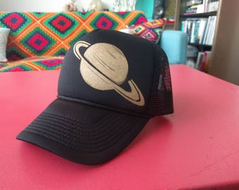 hand stenciled trucker hat - Saturn - black Decky snapback with space stencil