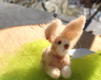 Needle felted bunny,Felted animal,Hand made