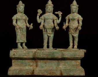 """18th Century Antique Bronze Triad of Vishnu, Shridevi and Bhudevi - 25cm/10"""""""