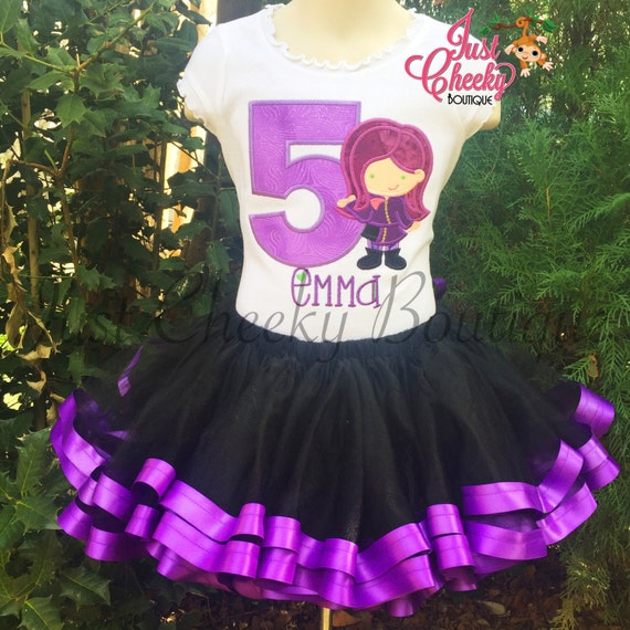 Mal Disney Descendants Tutu Outfit - Disney Vacation - Birthday Tutu - Smash Cake Outfit - Disney Princess Birthday - 1st Disney