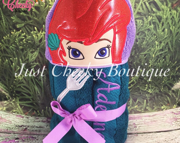 Mermaid Inspired Hooded Towel - The Little Mermaid Birthday Party - Disney Princess Party - Ariel Towel - Under the Sea - Mermaid Party