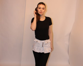5 pocket pleat fringed utility Micro skirt