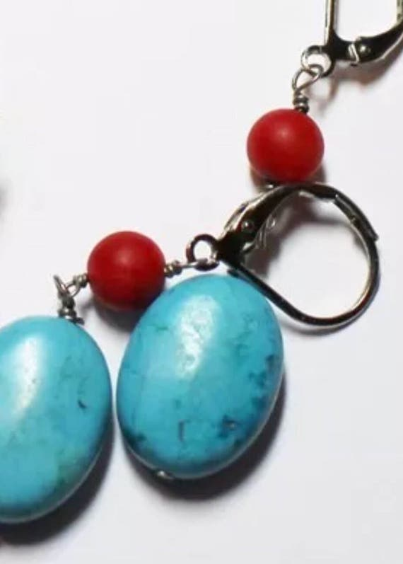 Vintage Costume Southwestern Style Red & Blue-Green Dangle and Drop Earrings