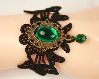 beautiful  black lace bracelet with emerald glass pendant