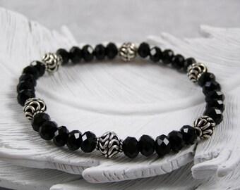 Black Crystal Beaded Bracelet, Beaded Ladies Bracelet, Black Beaded Bracelet, Beaded Stretch Bracelet, Sterling Silver Bracelet
