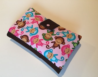 Diaper Bag / Clutch 'Monkey Party' rose-brown