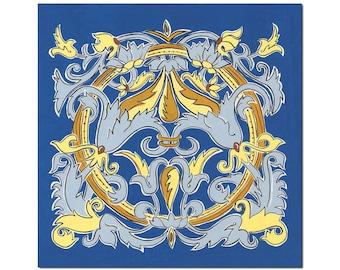 Italian Ricco Deruta Style Wall Art, 12x12 Matted Art Print, Blue Deruta#2 Symmetrical Scroll Pattern, Royal Blue, Yellow Gold, Slate Blue