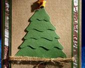 Layered Pine Tree Kraft Christmas Card