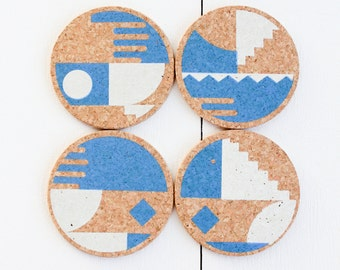 Pack of 4 cork coasters handprinted in white and blue / graphic pattern / minimalist coaster