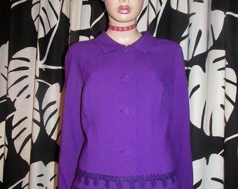 Vintage crepe jacket.Vintage purple jacket with hem embellishment.