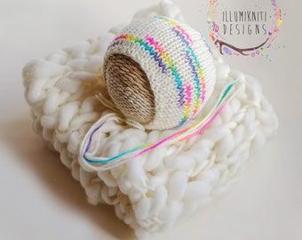 Rainbow Baby Knit Bonnet and Mini Blanket Set - Rainbow Baby Set - Rainbow Baby Bonnet - Cream Knit Mini Blanket - White Knit Mini Blanket