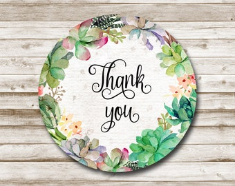 Thank You Tags Printable Thank You Favor Tags, Thank You Stickers Printable Thank You Tags Instant Download Succulent Thank You Tags