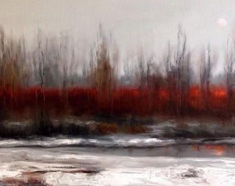 "Original Oil Painting by CES - Winter Tree Saskatchewan Landscape Prairie Red Trees Gray Moon Grey Snowy Scene Creek Canadian ART 36"" x 18"""