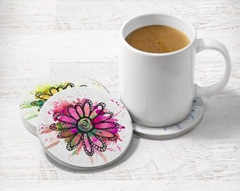 Watercolor coasters, Flower coasters, Set of 4 drink coasters, Round coasters, Floral doodles, Holiday gift, Hostess gift, CR086
