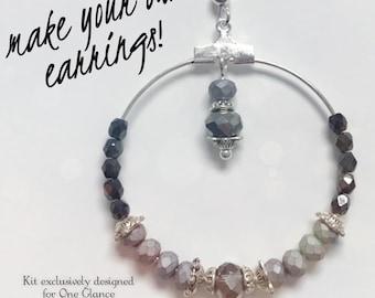 Earrings kit, Crystal hoop earrings