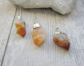 Raw Citrine Point Pendant - Raw Rough Rock Crystal - Electroplated Gemstone Necklace Silver Plated
